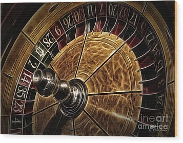 Wood Print featuring the photograph A Virginia City Roulette Wheel by Brad Allen Fine Art