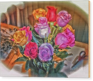 A Vivid Rose Bouquet For You Wood Print by Thomas Woolworth
