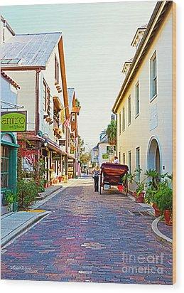 A Walk In St Augustine Wood Print by Michelle Wiarda