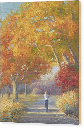 A Walk In The Fall Wood Print by Lucie Bilodeau