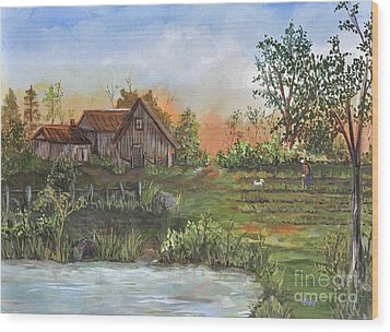 A Walk In The Garden Wood Print by Reb Frost