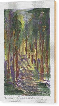 A Walk In The Park Wood Print by Debbie Wassmann