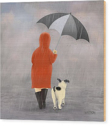 A Walk In The Rain 2 Wood Print by Marlene Watson