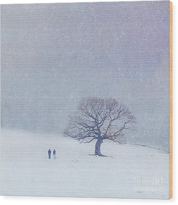 A Walk In The Snow Wood Print