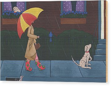 A Walk On A Rainy Day Wood Print by Christy Beckwith