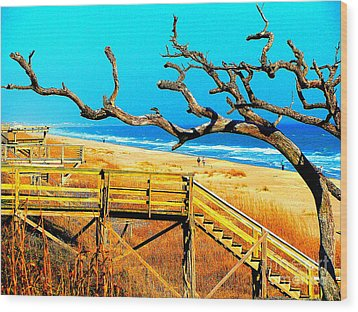 A Walk On Atlantic Beach Wood Print by Mj Carbo