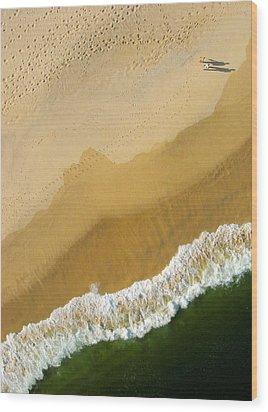 A Walk On The Beach. A Kite Aerial Photograph. Wood Print