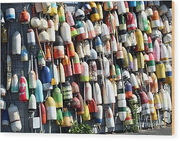 A Wall Of Bouys Wood Print by Rosemary Aubut