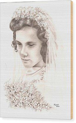 A War Bride Wood Print by Manon  Massari