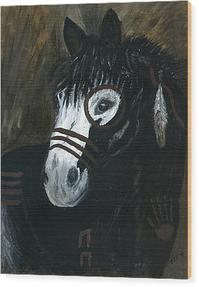 Wood Print featuring the painting A War Pony by Barbie Batson