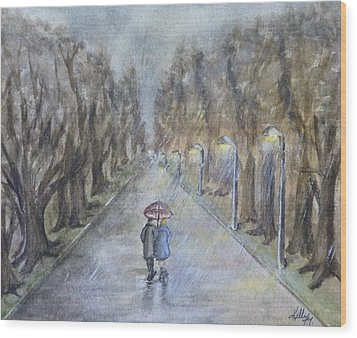 A Wet Evening Stroll Wood Print by Kelly Mills
