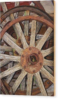 A Wheel In A Wheel Wood Print by Phyllis Denton
