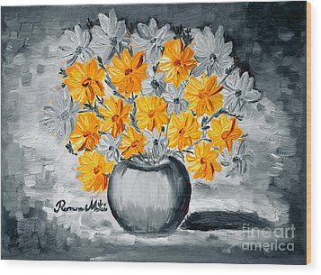 A Whole Bunch Of Daisies Selective Color I Wood Print by Ramona Matei