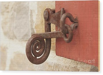 A Window Latch Wood Print by Kerri Mortenson