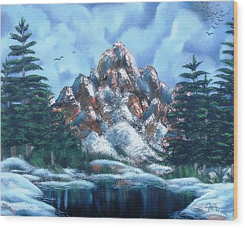Wood Print featuring the painting A Winter Day On Bald Mountain by The GYPSY And DEBBIE