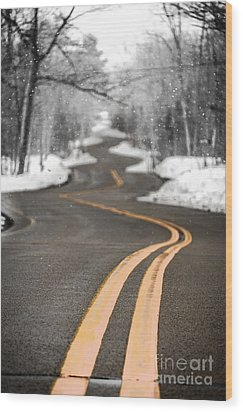 Wood Print featuring the photograph A Winter Drive Over A Winding Road by Mark David Zahn
