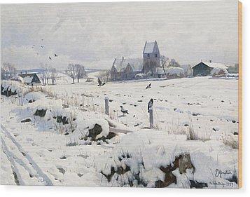 A Winter Landscape Holmstrup Wood Print by Peder Monsted