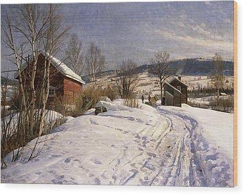 A Winter Landscape Lillehammer Wood Print by Peder Monsted