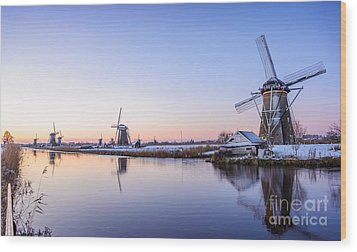 A Cold Winter Morning With Some Windmills In The Netherlands Wood Print