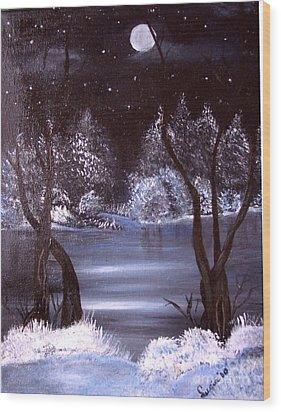 A Winter Night Wood Print by Lucia Grilletto