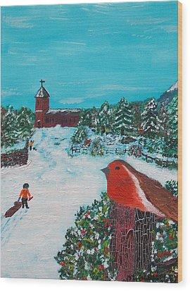 A Winter Scene Wood Print by Martin Blakeley
