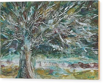 A Winter Tree Wood Print by Mary Wolf