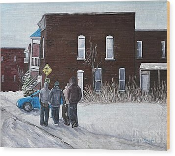 A Winter Walk In Montreal Wood Print by Reb Frost