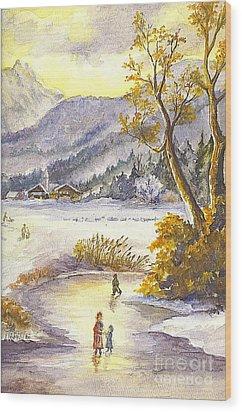 Wood Print featuring the painting A Winter Wonderland Part 2 by Carol Wisniewski