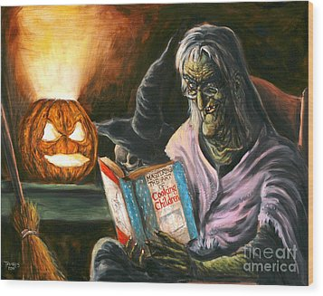A Witch Reading Wood Print by Mark Tavares