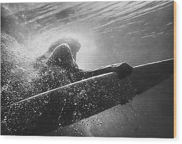A Woman On A Surfboard Under The Water Wood Print by Ben Welsh