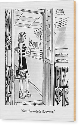 A Woman Orders A Pizza At The Counter Wood Print by Marisa Acocella Marchetto