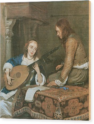 A Woman Playing The Theorbo-lute And A Cavalier Wood Print by Gerard Terborch