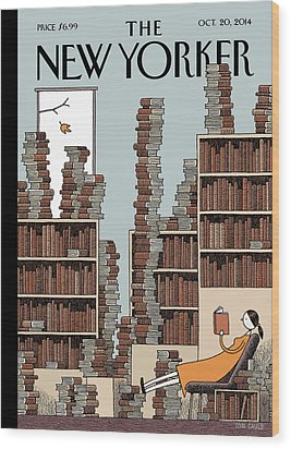 A Woman Reclines In A Room Full Of Books Wood Print by Tom Gauld
