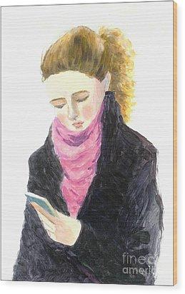 A Woman Texting W Cell Phone Wood Print by Jingfen Hwu