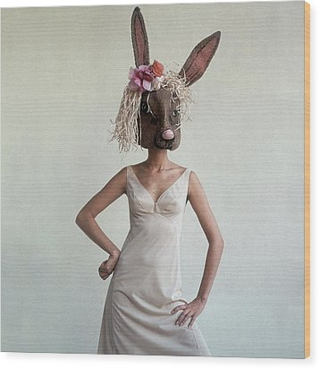 A Woman Wearing A Rabbit Mask Wood Print