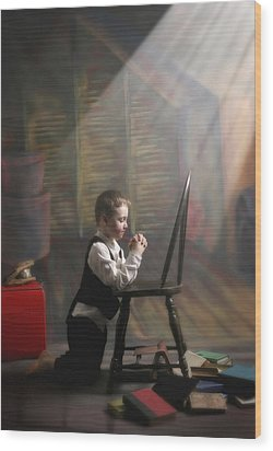 A Young Boy Praying With A Light Beam Wood Print by Pete Stec