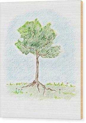 A Young Tree Wood Print by Keiko Katsuta
