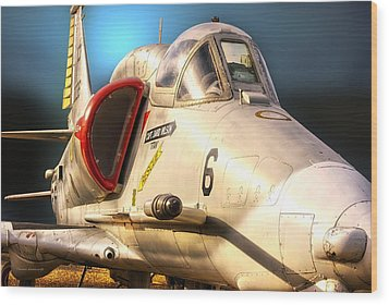 A4 Skyhawk Attack Jet Wood Print by Thomas Woolworth