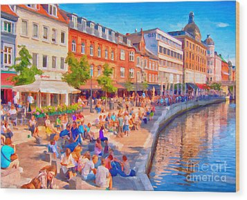 Aarhus Canal Digital Painting Wood Print by Antony McAulay
