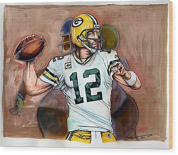 Aaron Rodgers Wood Print by Dave Olsen