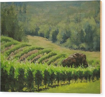 Abacela Vineyard Wood Print by Karen Ilari