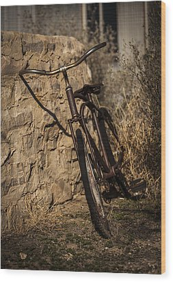 Abandoned Bicycle Wood Print by Amber Kresge
