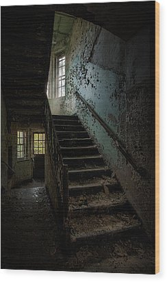 Abandoned Building - Haunting Images - Stairwell In Building 138 Wood Print by Gary Heller