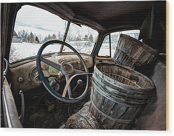 Wood Print featuring the photograph Abandoned Chevrolet Truck - Inside Out by Gary Heller