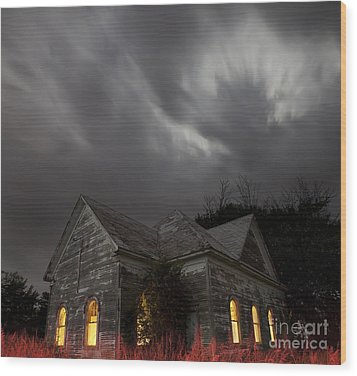 Abandoned Church Of Walters Oklahoma Wood Print by Keith Kapple