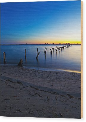 Abandoned Dock At Sunrise Wood Print by Tracy Welker