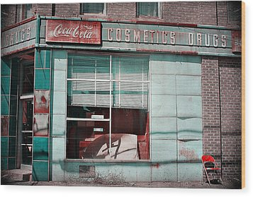 Abandoned Drug Store Wood Print by DeeLusions Photography