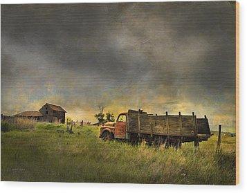 Abandoned Farm Truck Wood Print by Theresa Tahara