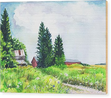 Abandoned Farmhouse Wood Print by Susan Herbst