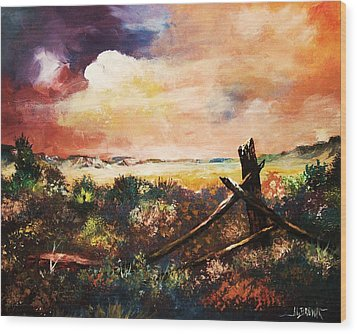 Wood Print featuring the painting Abandoned Fence Post by Al Brown